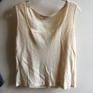 St. John Light Yellow/Cream Textured Tank Top